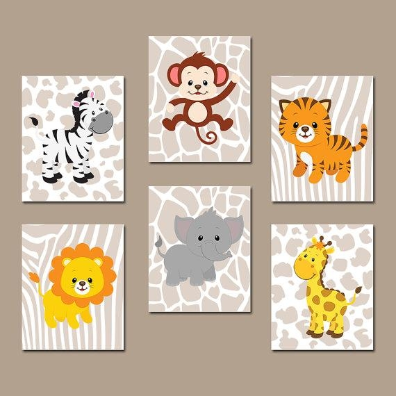 Jungle Animals Wall Art Baby Boy Nursery Pictures Canvas Intended For Jungle Canvas Wall Art (View 4 of 20)