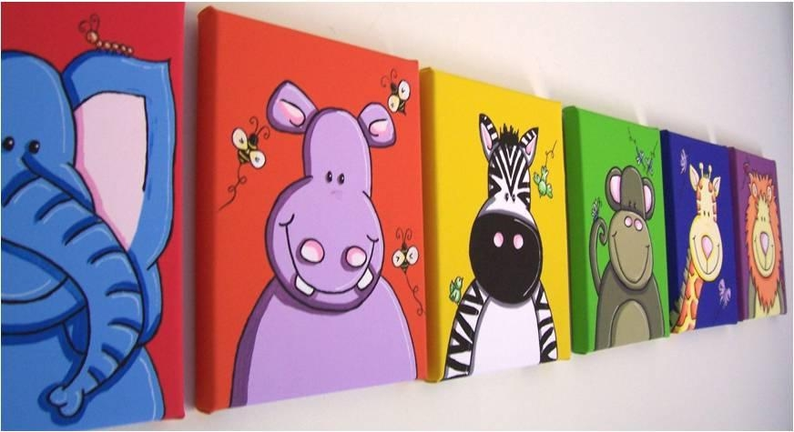 Jungle Animals Zoo Canvas Prints Baby Nursery 30X40Cm | Ebay For Jungle Canvas Wall Art (View 9 of 20)