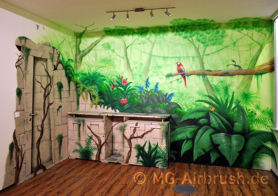 Jungle Mural Paintingmg Airbrush On Deviantart Within Airbrush Wall Art (Image 11 of 20)