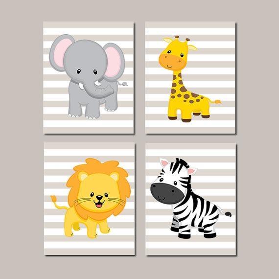 Jungle Nursery Wall Art Elephant Giraffe Lion Zebra Zoo Intended For Nursery Wall Art (View 14 of 20)