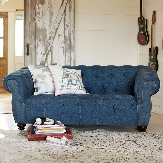 "Junk Gypsy Blue Jean Chesterfield Loveseat (72"") 