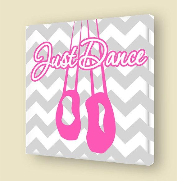 Just Dance Canvas Wall Art Girls Room Ballet Shoes Stretched Throughout Girls Canvas Wall Art (Image 14 of 20)