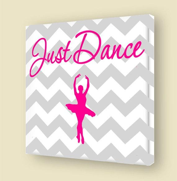 Just Dance Stretched Canvas Wall Art Girls Room Ballerina Regarding Girls Canvas Wall Art (Photo 5 of 20)