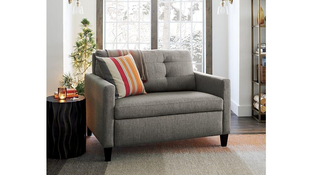 Karnes Twin Sleeper Sofa Chair | Crate And Barrel Intended For Davis Sleeper Sofas (Image 16 of 20)