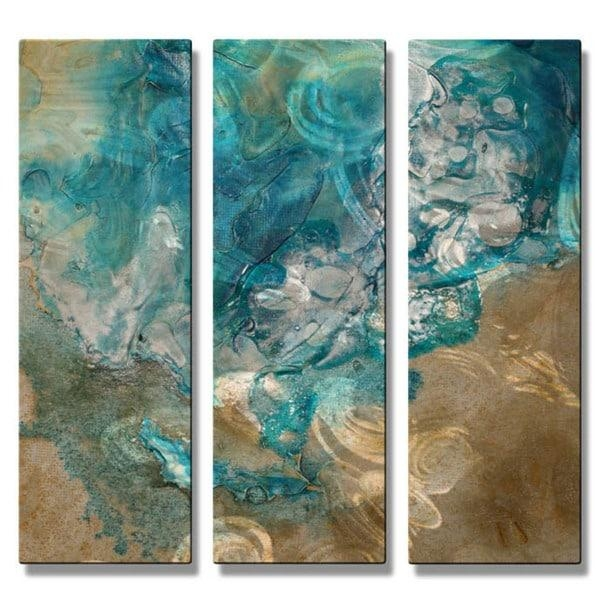 Kelli Money Huff 'lively Tide Pool' Metal Wall Art 3 Piece Set Pertaining To Turquoise And Brown Wall Art (Image 12 of 20)