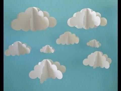 Kids 3D Cloud Diy Using Shaving Cream – Youtube In 3D Clouds Out Of Paper Wall Art (View 10 of 20)