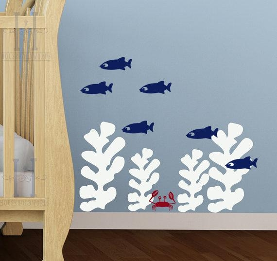 Kids Beach Bedroom Wall Decals Seaweed Stickers Fish Wall Within Fish Decals For Bathroom (View 3 of 20)