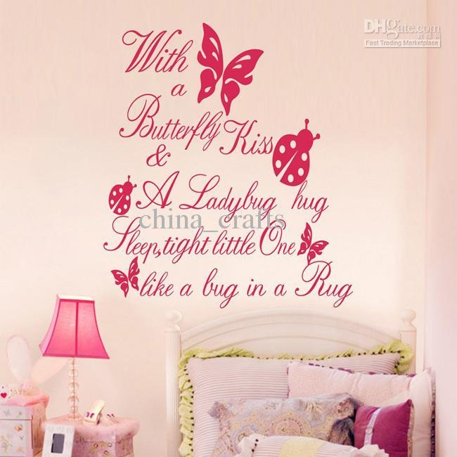 Kids Room Butterfly Wall Quotes Vinyl Wall Stickers 55X60Cm Wall Regarding Butterflies Wall Art Stickers (Image 16 of 20)