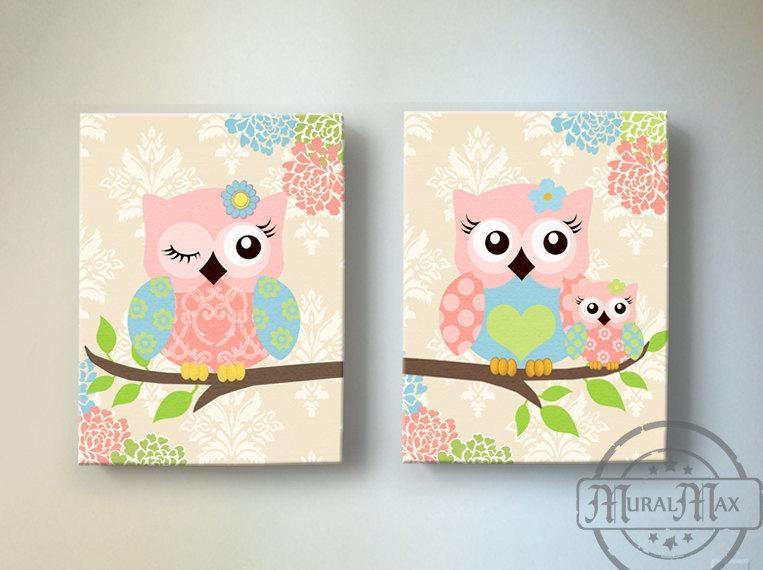 Kids Wall Art Owl Nursery Baby Girl Owl Decor Owl Nursery Regarding Childrens Wall Art Canvas (Image 12 of 20)
