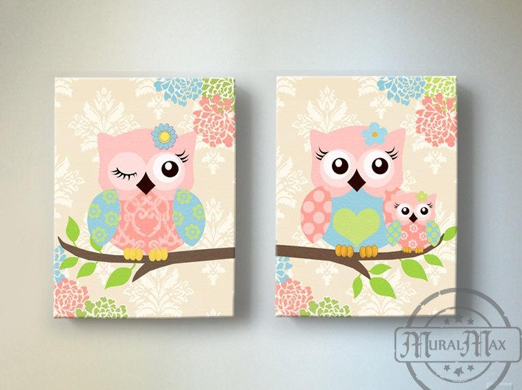 Kids Wall Art Owl Nursery Baby Girl Owl Decor Owl Nursery Within Kids Canvas Wall Art (Image 13 of 20)