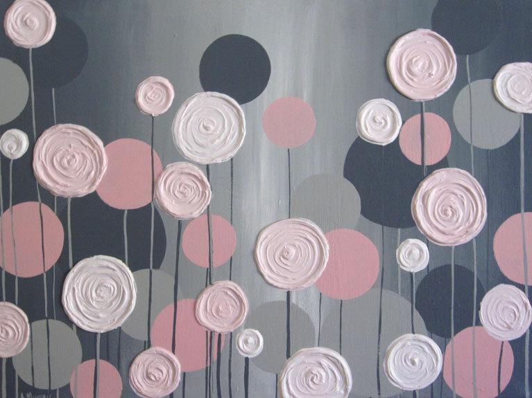 Kids Wall Art Pink And Grey Textured Flowers Acrylic In Pink And Grey Wall Art (Image 11 of 20)