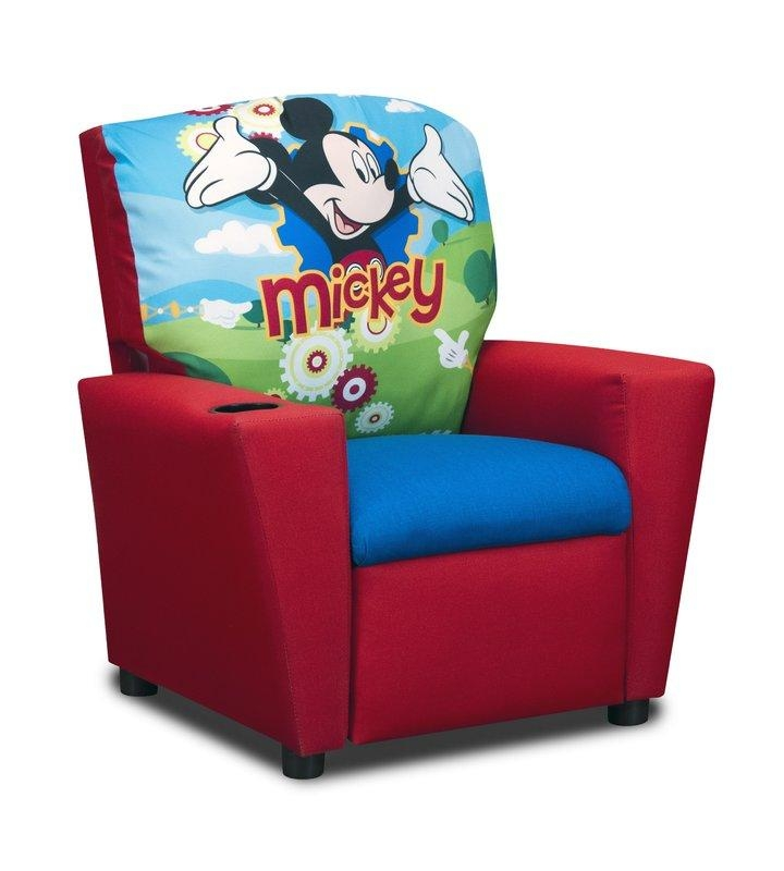 Kidzworld Disney's Mickey Mouse Clubhouse Kids Cotton Recliner Pertaining To Mickey Mouse Clubhouse Couches (Image 12 of 20)