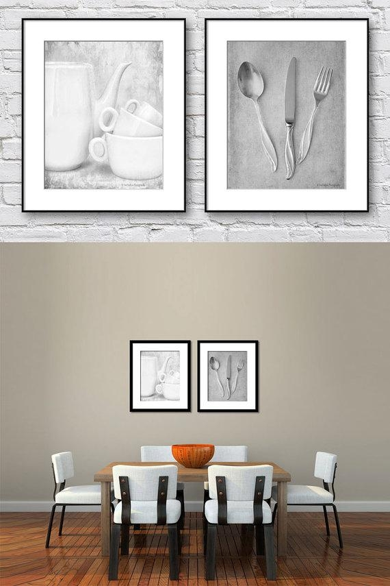 Kitchen Wall Art Black And White Set Of 2 Prints Dining Room Intended For Black And White Wall Art Sets (Image 12 of 20)