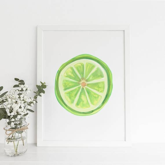 Kitchen Wall Art Fruit Poster Art Fruit Kitchen Decor Inside Lime Green Wall Art (Image 14 of 20)