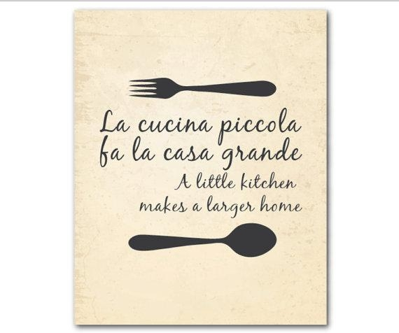 Kitchen Wall Art La Cucina Piccola Fa La Casa Grande A Throughout Cucina Wall Art (Image 11 of 20)