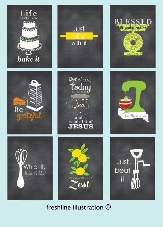 Kitchen Wall Art Set Of 9 Art Prints Funny Kitchen Posters Pertaining To Kitchen Wall Art Sets (View 10 of 20)