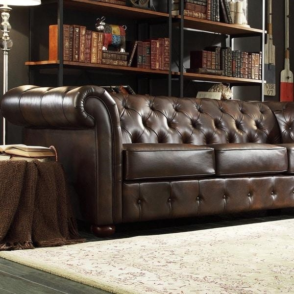 Knightsbridge Brown Bonded Leather Tufted Scroll Arm Chesterfield Inside Brown Leather Tufted Sofas (Image 13 of 20)
