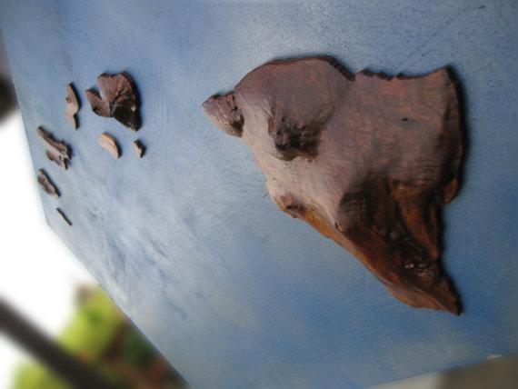 Koa Wood Hawaiian Island Chain Wall Art (View 11 of 20)