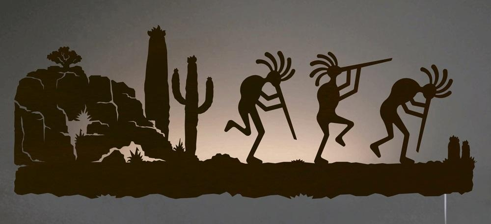 Kokopelli In Desert Southwest Scene Backlit Wall Art 42 Inch Throughout Southwest Metal Wall Art (View 4 of 20)