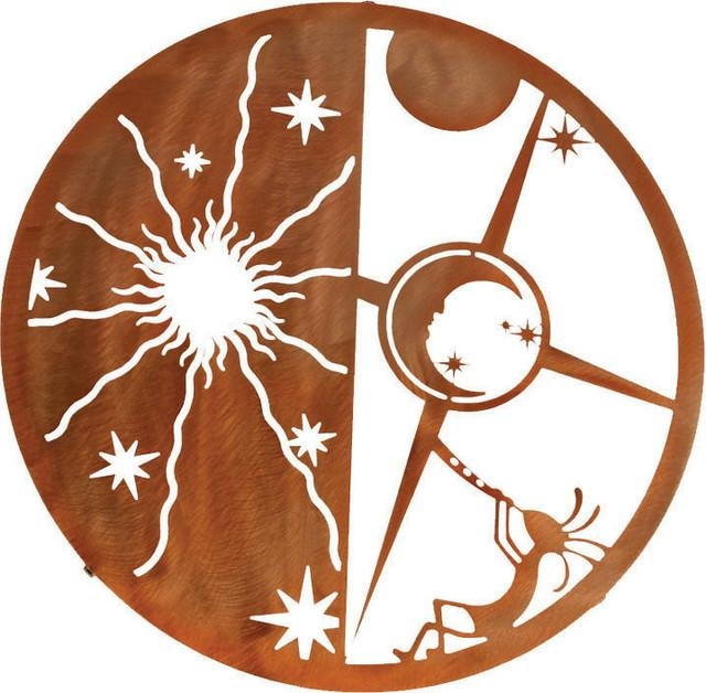 Kokopelli Sun & Moon 18 Inch Southwest Metal Wall Art – Rustic Inside Southwest Metal Wall Art (View 20 of 20)