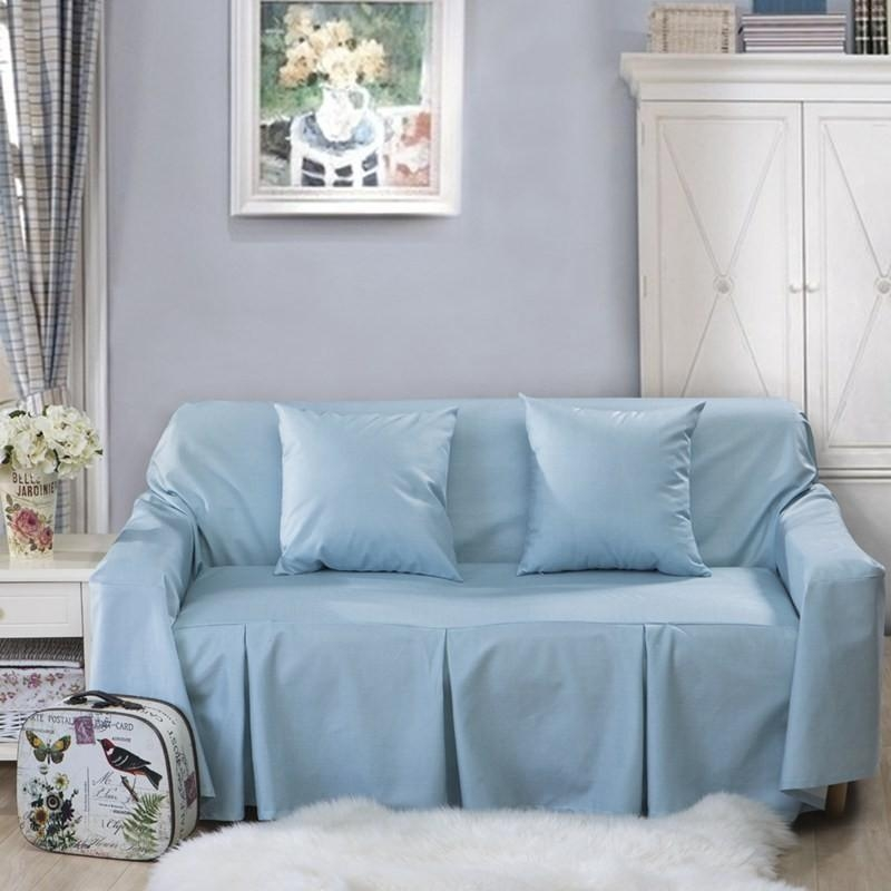 L Shaped Sofa Cover For Home Grey/blue Sofa Slipcover/couch Cover With Regard To Sky Blue Sofas (View 16 of 20)