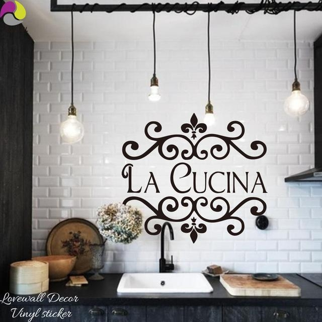 La Cucina Kitchen Wall Sticker Italian Kitchen Quote Wall Decor Throughout Cucina Wall Art Decors (Image 16 of 20)