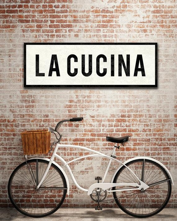 La Cucina Sign Kitchen Sign Italian Kitchen Decor Tuscan Intended For Cucina Wall Art (Image 14 of 20)