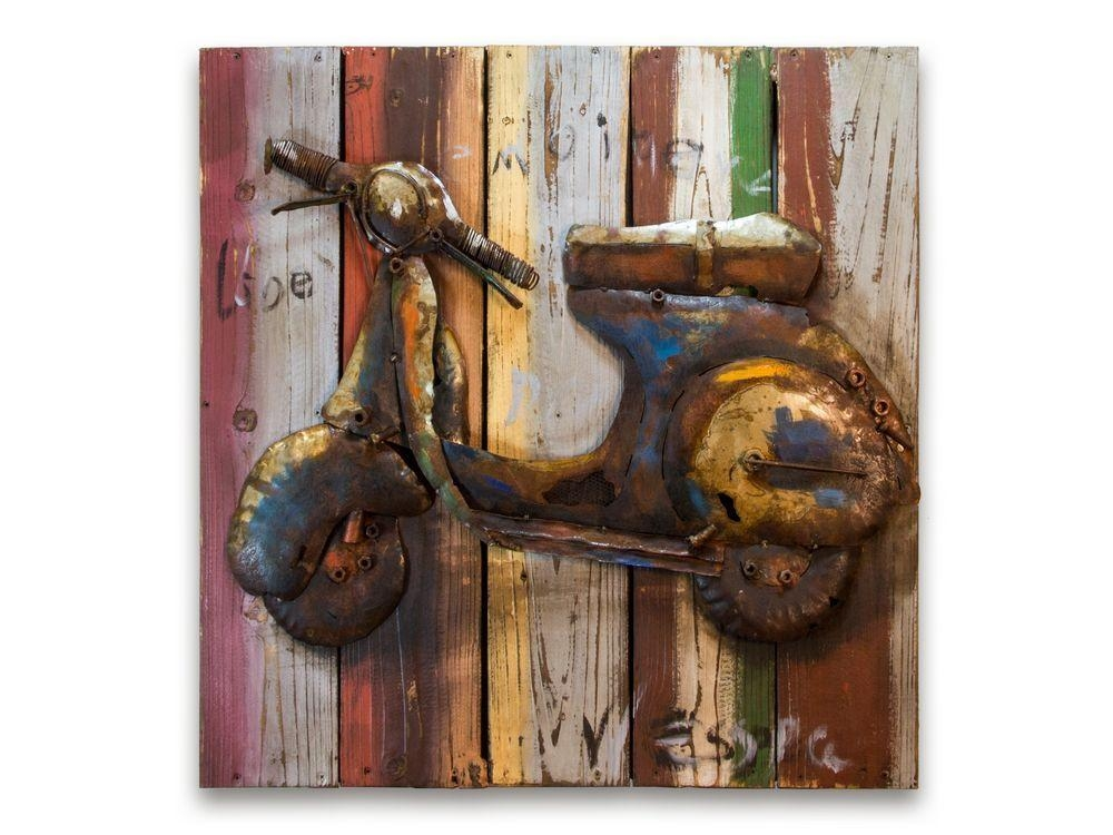 Lambretta Scooter Metal Picture | Vespa Metal Décor Pertaining To Italian Metal Wall Art (Image 12 of 20)
