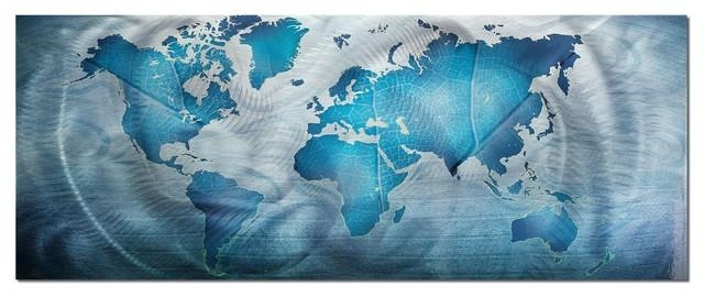 Land & Sea, Blue World Map Metal Wall Art, Giclee On Metal For Blue Wall Art (View 11 of 20)
