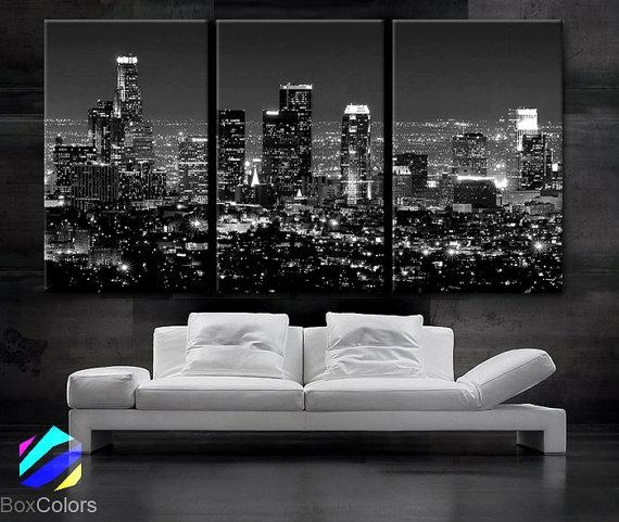 Large 30X 60 3 Panels Art Canvas Print Beautiful Regarding Los Angeles Wall Art (Image 7 of 20)