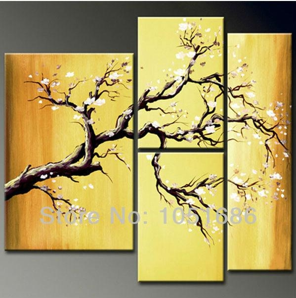 Large 4 Piece Hand Painted Modern Blossom White Cherry Flowers Oil Regarding Large Yellow Wall Art (Image 11 of 20)