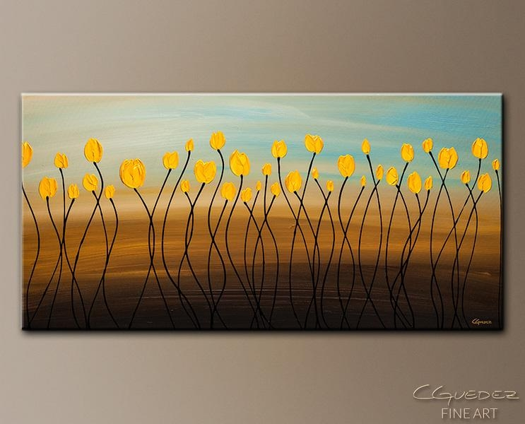 Large Abstract Art Painting On Canvas – Yellow Tulips Canvas Art With Large Yellow Wall Art (View 8 of 20)