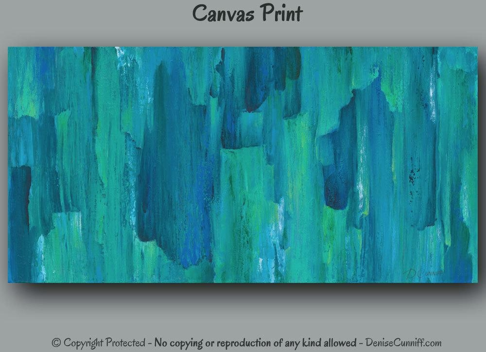 Large Abstract Canvas Wall Art Print Turquoise Teal Home In Blue And Green Wall Art (Image 15 of 20)