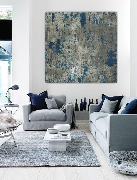 Large Abstract Painting Teal Blue Navy Grey Gray White Canvas Art Inside Large Contemporary Wall Art (View 10 of 20)