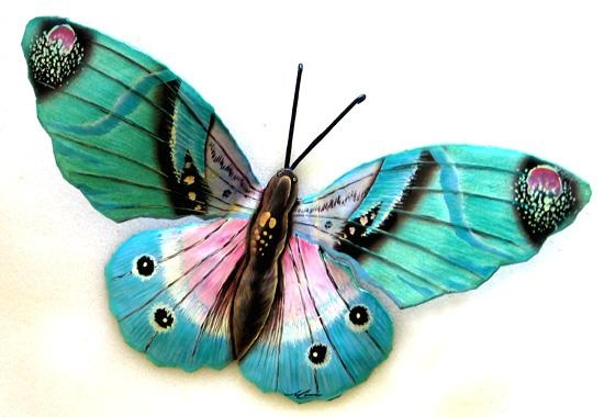 Large Aqua Butterfly Wall Hanging – Painted Metal Butterflies Throughout Large Metal Butterfly Wall Art (View 10 of 20)