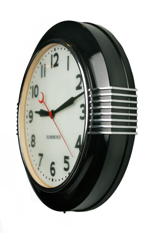 Large Art Deco Illuminated Hammond Sychronous Wall Clock At With Art Deco Wall Clocks (Image 12 of 20)