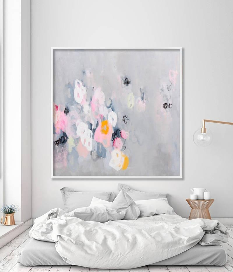 Large Art Giclee Print Abstract Art Modern Art Fine Art Throughout Pink And Grey Wall Art (Image 12 of 20)