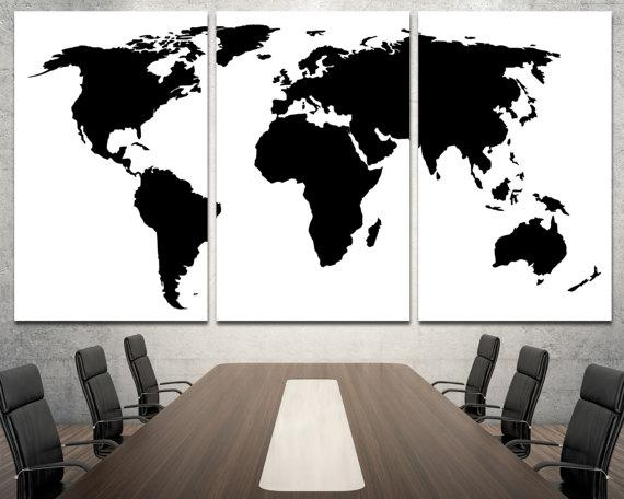 Large Black World Map Wall Art Modern Map Of The World Wall For Large Black And White Wall Art (Image 15 of 20)
