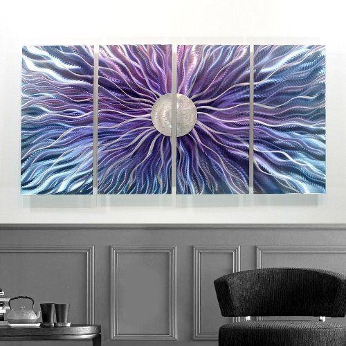 Large Blue, Purple, And Silver Metal Wall Art Painting – Panel Art For Blue And Silver Wall Art (Image 13 of 20)