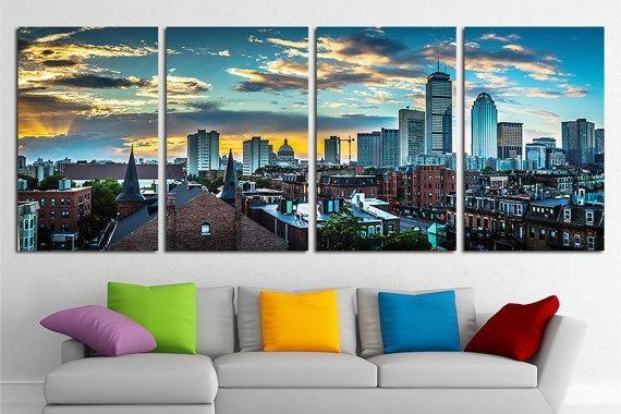 Large Boston City Canvas Wall Art Set Boston Canvas Art Boston Within Large Canvas Wall Art Sets (View 16 of 20)