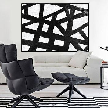 Large Canvas Painting Wall Art, Large From Artcanvasshop On Etsy Inside Large Black And White Wall Art (Image 16 of 20)