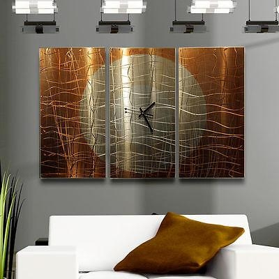 Large Copper 3 Panel Wall Clock – Modern Contemporary Metal Wall Within Contemporary Metal Wall Art Sculpture (Image 15 of 20)