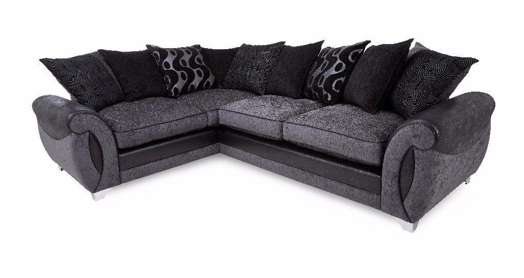 Large Corner Sofa – Dfs Dark Grey & Black Corner Sofa (L Shaped Regarding Black Corner Sofas (View 18 of 20)