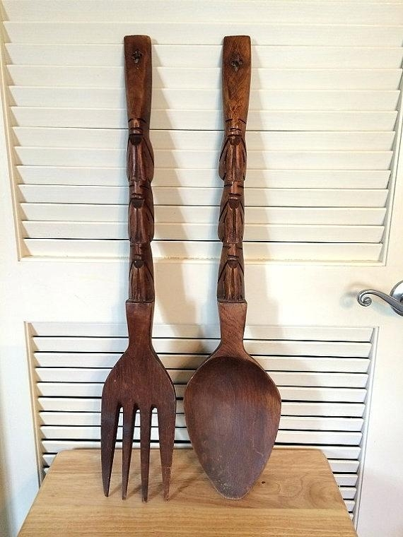 Large Decorative Knife Fork And Spoon Oversized Spoon And Fork Pertaining To Big Spoon And Fork Decors (Image 15 of 20)