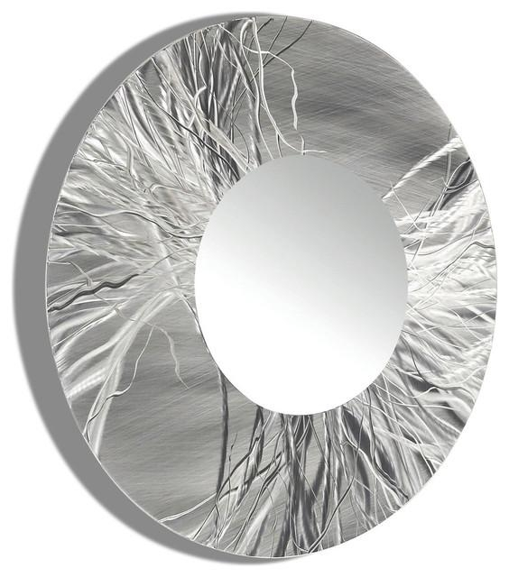 Large Framed Round Wall Mirror – Handmade Silver Modern Metal Wall Throughout Modern Mirror Wall Art (Image 7 of 20)