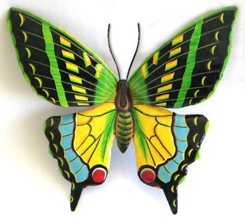 Large Green Butterfly Wall Hanging – Painted Metal Art Butterflies With Regard To Large Metal Butterfly Wall Art (View 5 of 20)