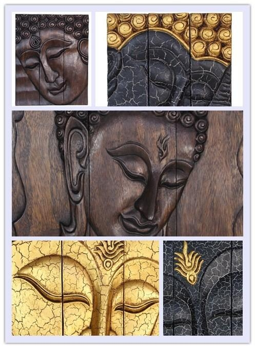 Large Hand Carved Wooden Thai Buddha Face Wood Wall Art 3X Panels Intended For Buddha Wood Wall Art (Image 6 of 20)