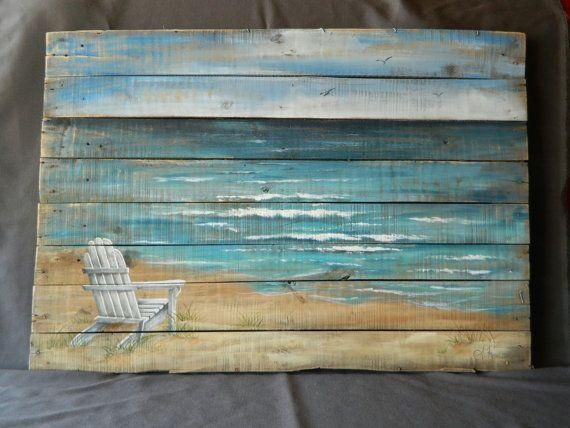 Large Handpainted Beach Scene Seascapethewhitebirchstudio For Beach Theme Wall Art (Image 12 of 20)