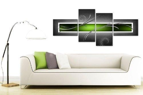 Large Lime Green And Grey Abstract Canvas Wall Art Pictures With Regarding Lime Green Wall Art (Image 15 of 20)