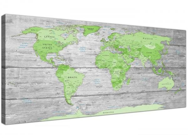 Large Lime Green Grey World Map Atlas Canvas Wall Art Print With Atlas Wall Art (View 17 of 20)